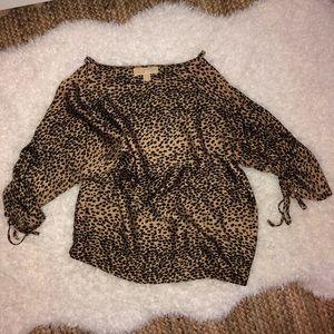 Michael Kors Cold Shoulder Leopard Shirt M